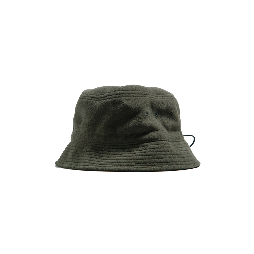 FLEECE STRING BUCKET HAT - khaki