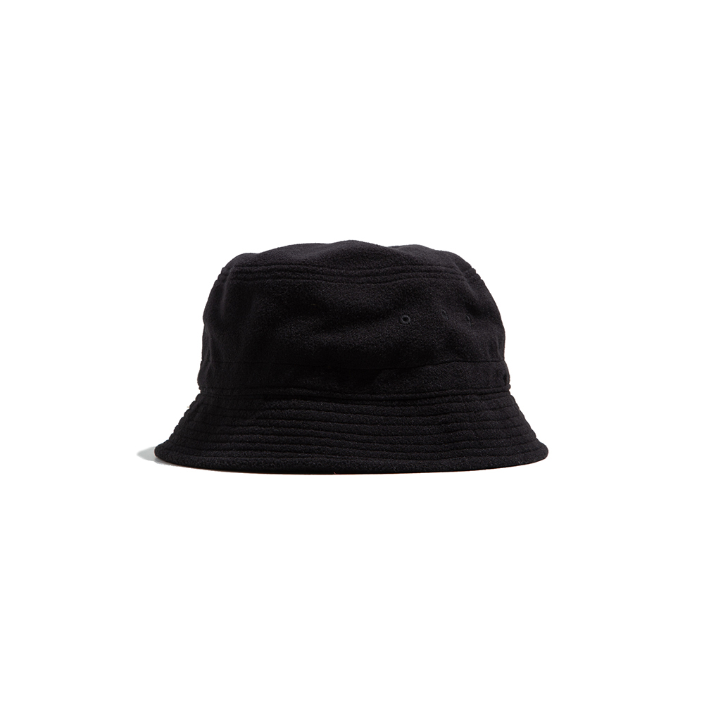 FLEECE STRING BUCKET HAT - black