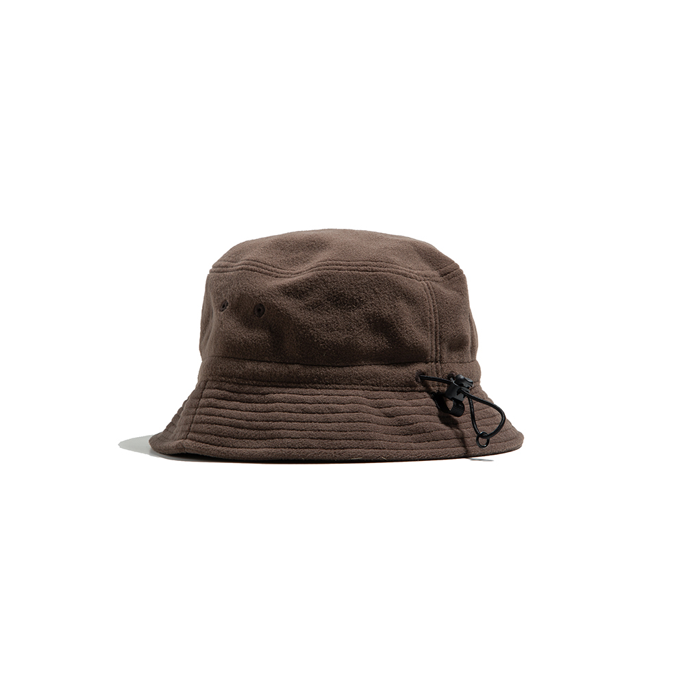 FLEECE STRING BUCKET HAT - desert khaki