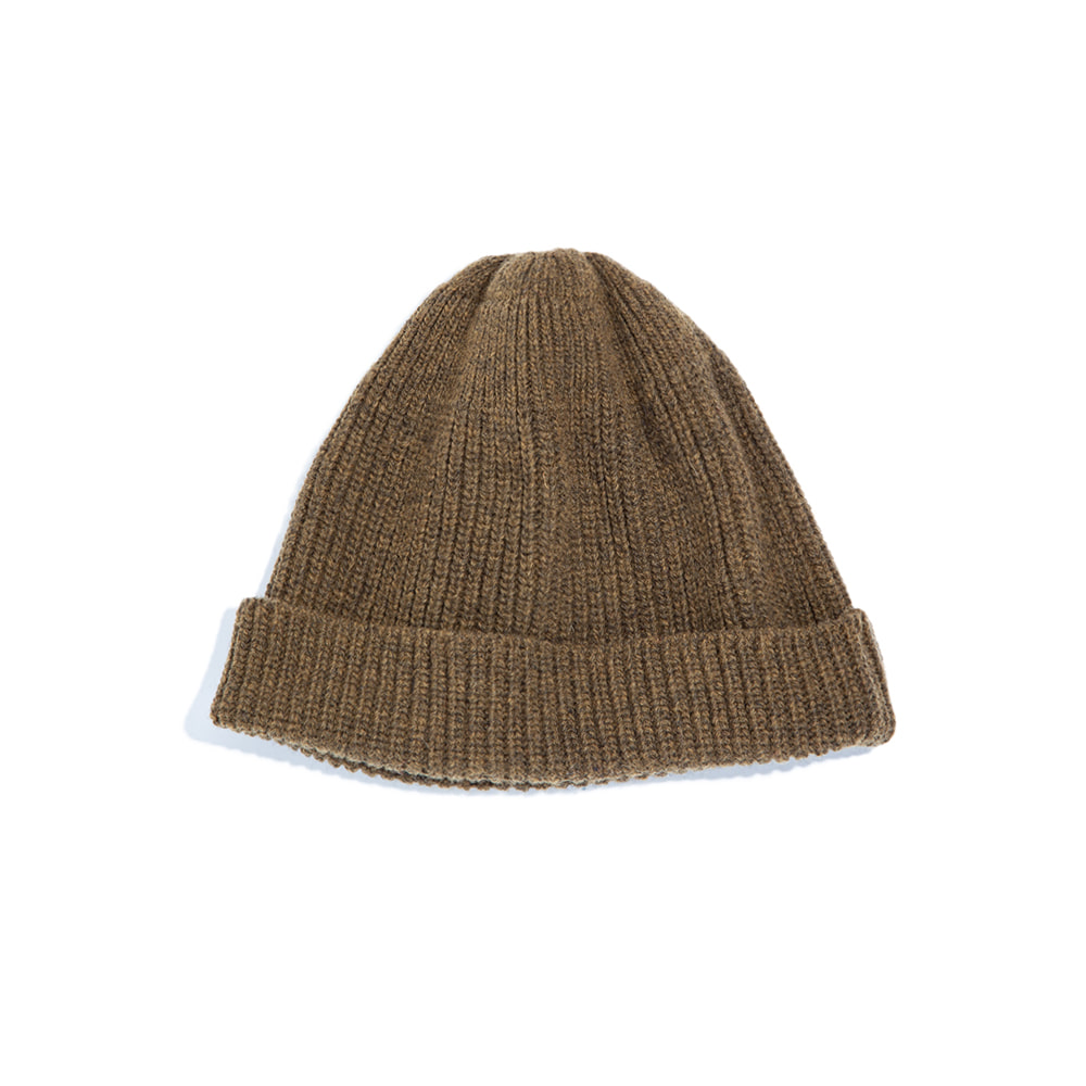 LAMBS WOOL RIBBED BEANIE OAK MEL