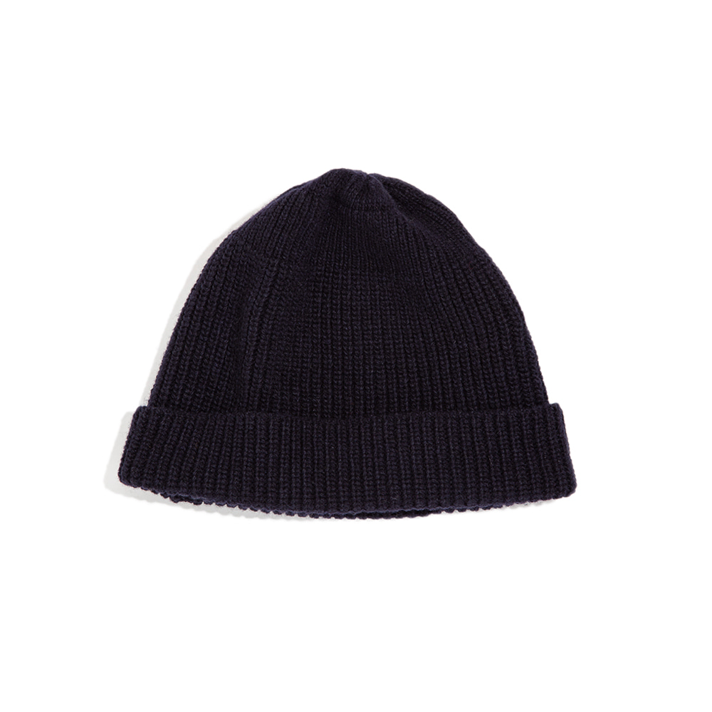 LAMBS WOOL RIBBED BEANIE - navy