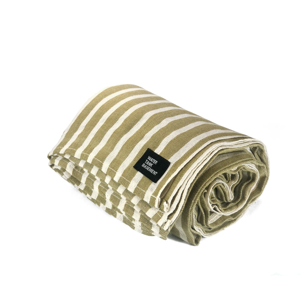 COTTON COVER - stripe olive