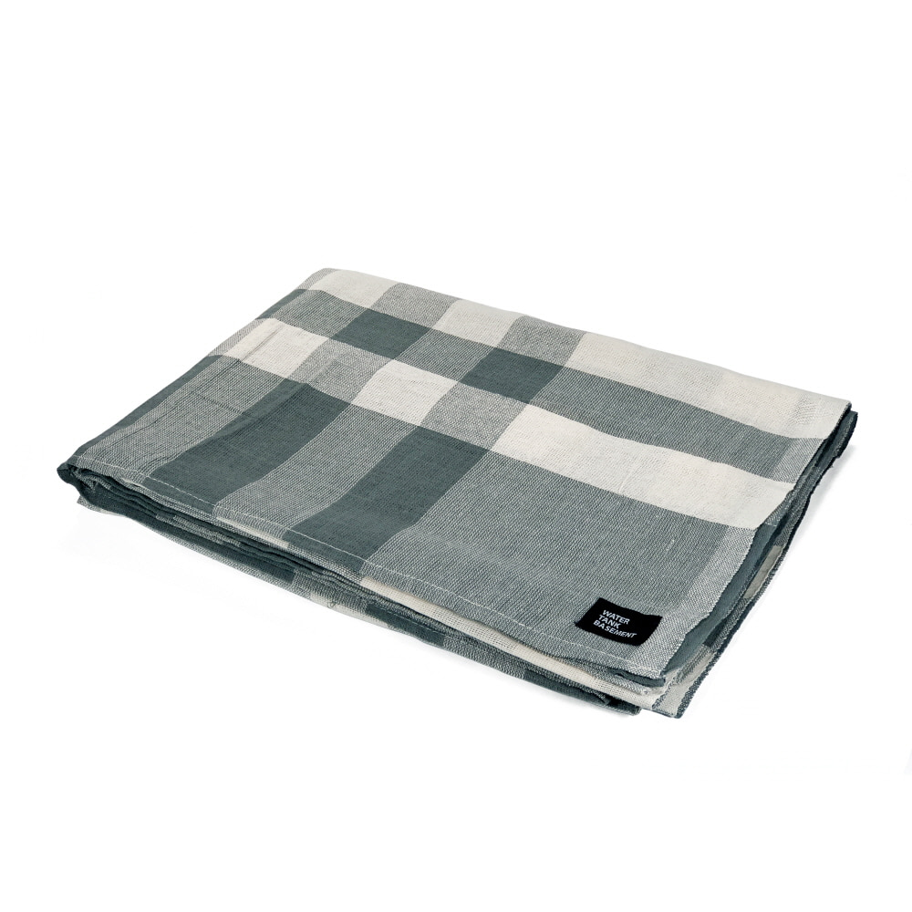 COTTON COVER - check khaki gray