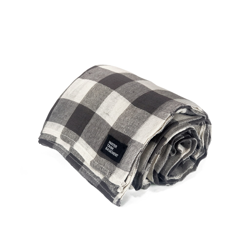 COTTON COVER - gingham check brown
