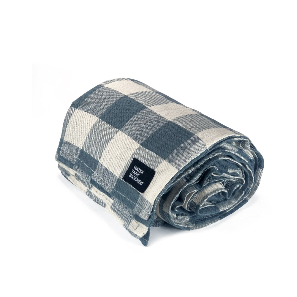 COTTON COVER - gingham check blue
